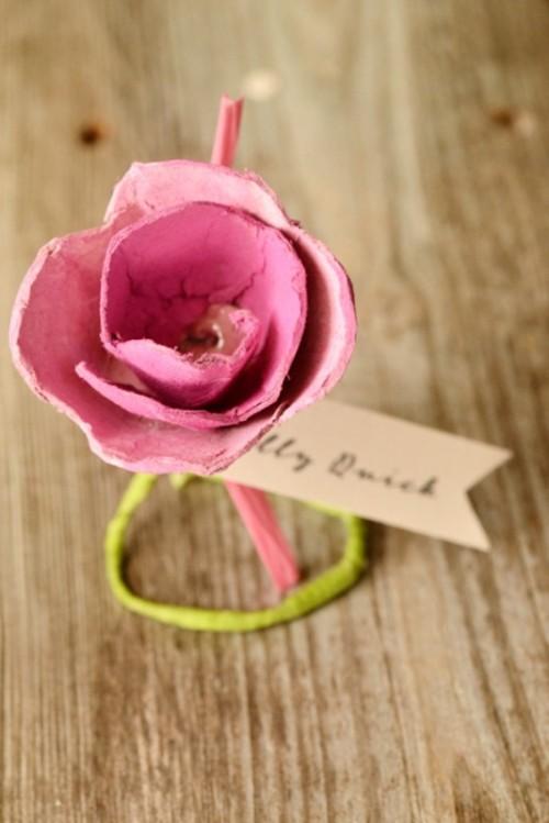 Lovely DIY Paper Roses Wedding Escort Cards