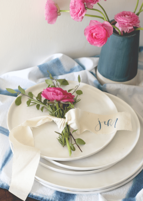 Lovely DIY Rosemary And Ranunculus Place Card Table Settings