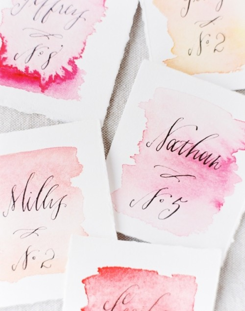 Lovely DIY Watercolor Wedding Escort Cards