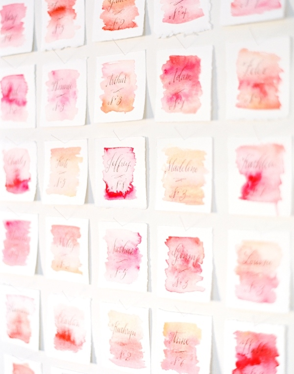 Picture Of lovely diy watercolor wedding escort cards  2