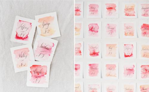Lovely DIY Watercolor Wedding Escort Cards