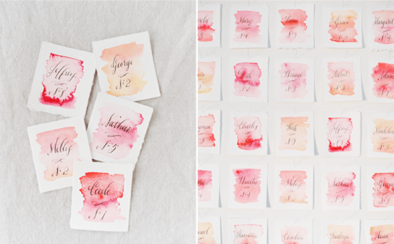 Picture Of lovely diy watercolor wedding escort cards  3