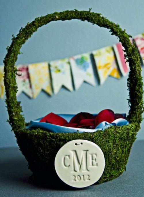 Lovely Moss Flower Girl Basket
