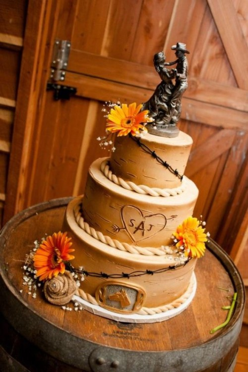 35 Lovely Rustic-Inspired Country Wedding Cakes