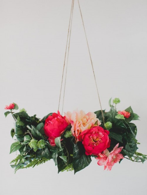 Lush And Pretty DIY Silk Flower Chandelier To Make