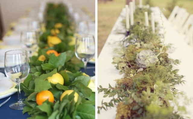 a greenery garland with citrus for a tropical wedding and a textural greenery garland with pale succulents for a modern one