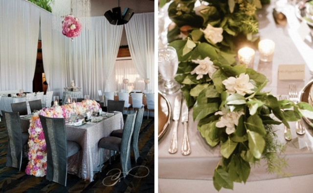 a bright floral table garland and a lush greenery and neutral bloom one for various types of decor and wedding themes