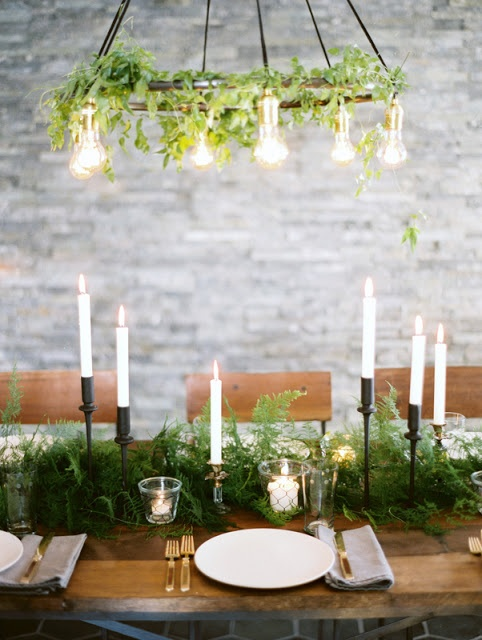 a lush and textural fern table garland is always a very spectacular idea that brings interest to the table
