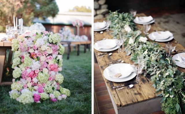 a lush neutral and pink floral garland and a lush greenery one   choose what you like and what matches your decor