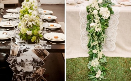 a table garland of your photos is a very personal idea, and a lush greenery and neutral bloom garland will match most of styles