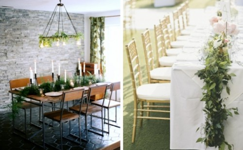 textural greenery garlands are trendy - they bring a fresh and lively look to the table without blooms