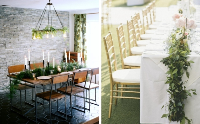 textural greenery garlands are trendy   they bring a fresh and lively look to the table without blooms