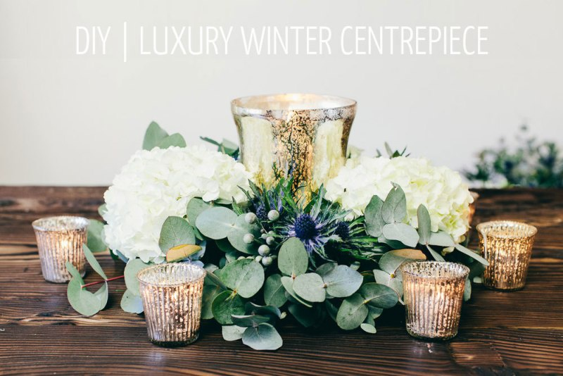 Picture Of luxury diy winter wedding table centerpiece  1