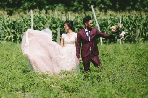 Marsala And Blush Pink Farmhouse Wedding With A Hipster Feel