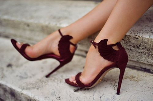 marsala suede wedding heels with tiny wings are lovely for a fall, summer or winter bride and look fantastic