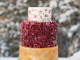 a unique wedding cake with a naked tier, a marsala ruffled one and a floral tier on top looks very refined, beautiful and unique