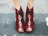 marsala suede lace up booties with peep toes are a bold and catchy idea for a fall or winter wedding