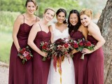 marsala slip maxi bridesmaid dresses are always a good idea for the fall or winter and they look bold and elegant