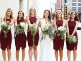 burgundy halter neckline knee fitting dresses and with small slits are chic and elegant for the fall