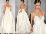 a minimalist wedding ballgown with spaghetti straps, a simple bodice with a shiny insert and pockets is wow