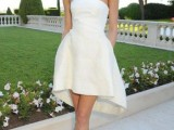 a minimalist strapless high low wedding dress with a draped bodice is a cool idea for a modern bride