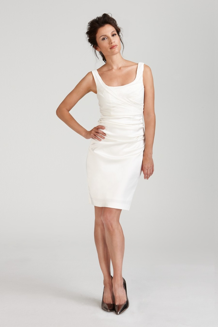a minimalist draped over the knee dress with thick straps and a square cut is a cool and chic idea