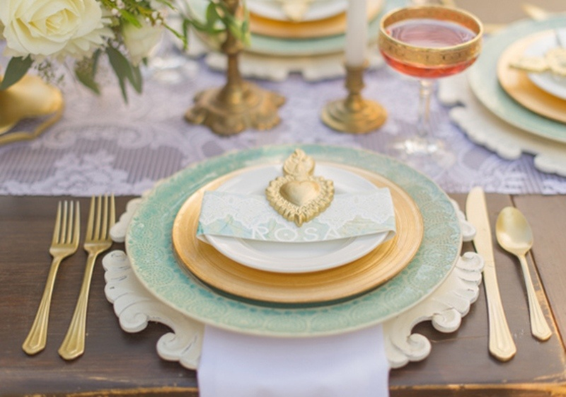 Picture Of Mint And Gold Romantic Latin Inspired Wedding Inspiration