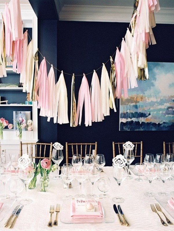 Picture Of modern and girly pink bridal shower inspiration  1