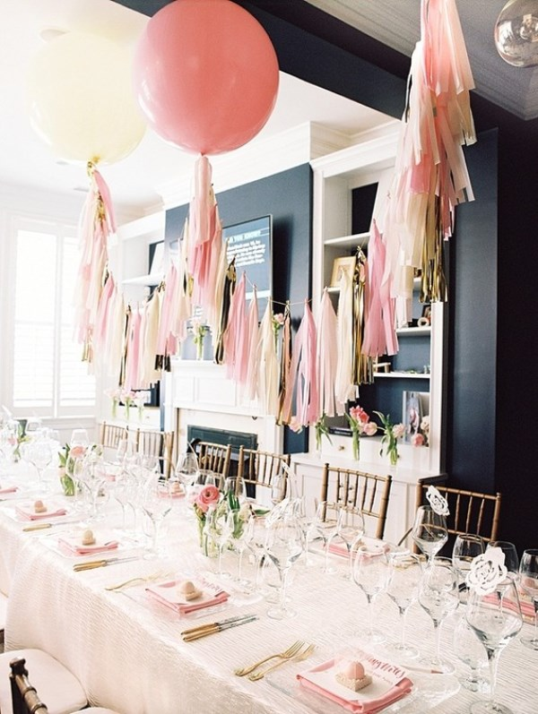Picture Of modern and girly pink bridal shower inspiration  5