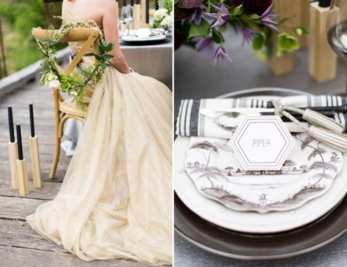 Modern Ivory, Gold And Plum Fall Wedding Inspiration