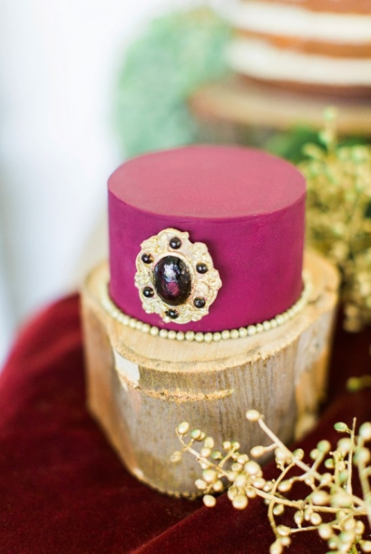Picture Of modern marsala and berry wedding inspiration  17