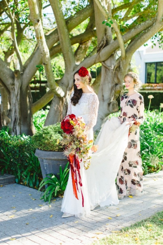 Picture Of modern marsala and berry wedding inspiration  21
