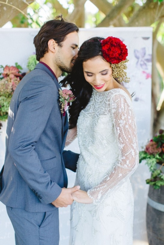 Picture Of modern marsala and berry wedding inspiration  22