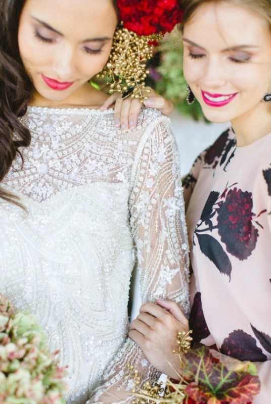 Picture Of modern marsala and berry wedding inspiration  23