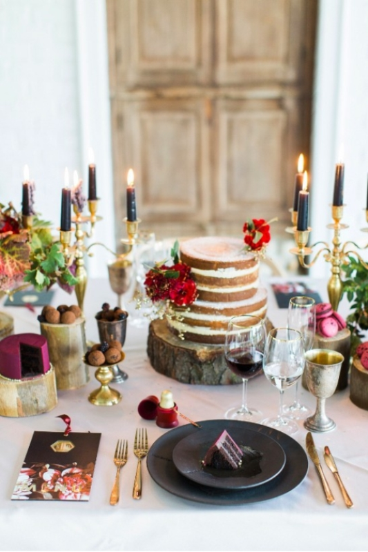 Picture Of modern marsala and berry wedding inspiration  27
