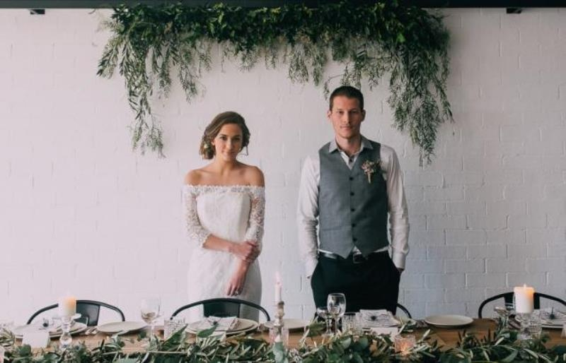 Picture Of modern wedding inspiration with lots of greenery  14