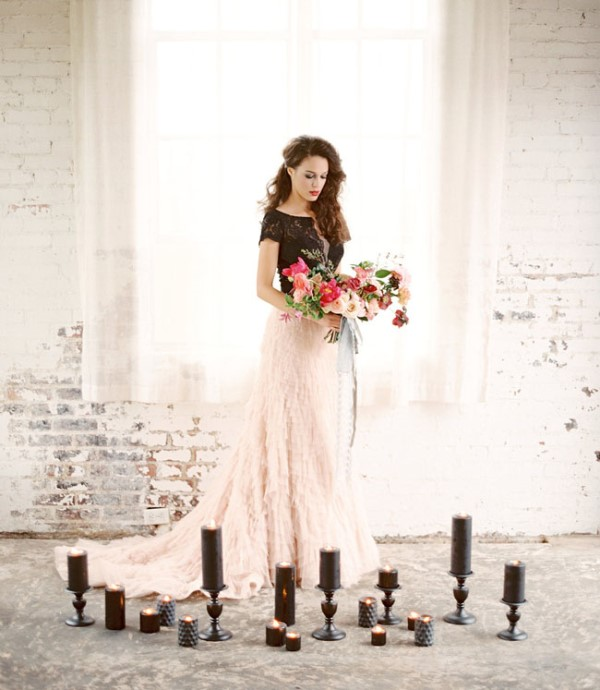 Picture Of moody marsala wedding inspiration at industrial loft  1
