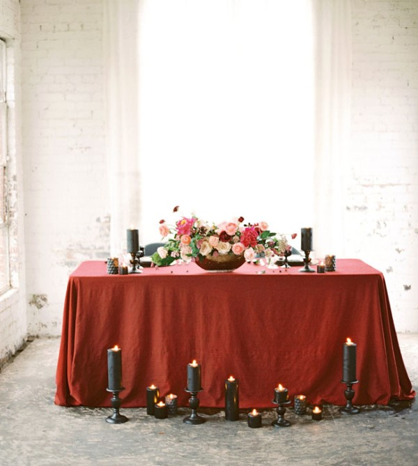 Picture Of moody marsala wedding inspiration at industrial loft  11