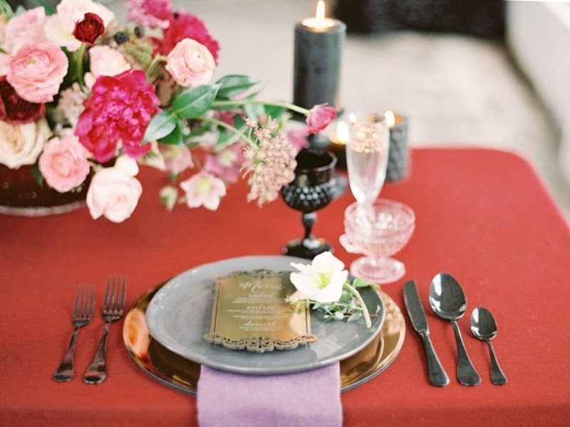 Picture Of moody marsala wedding inspiration at industrial loft  12