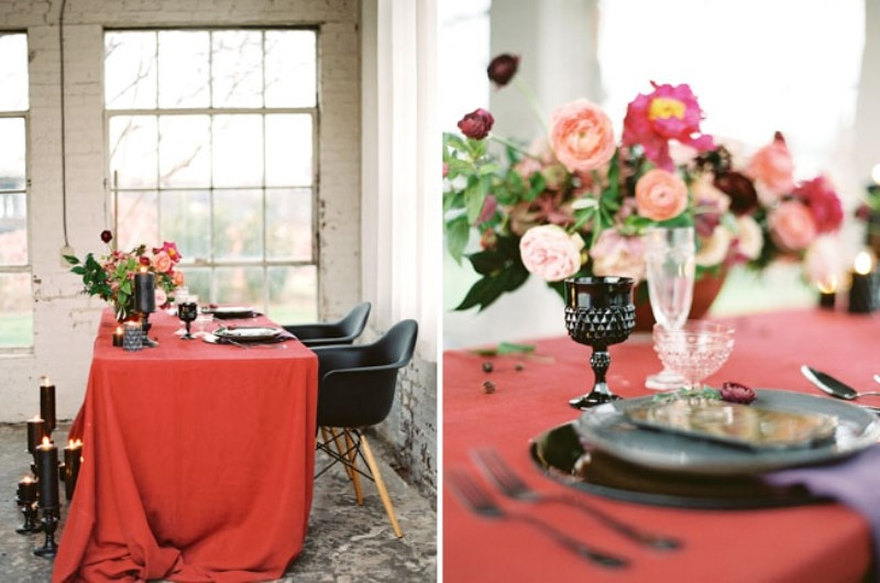 Picture Of moody marsala wedding inspiration at industrial loft  13