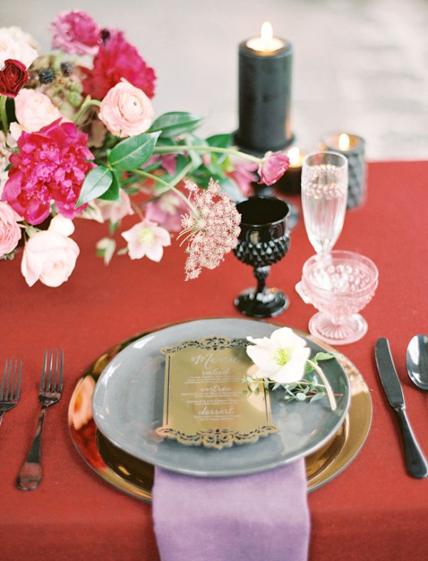 Picture Of moody marsala wedding inspiration at industrial loft  14