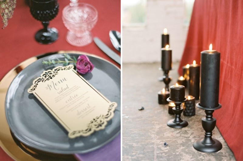 Picture Of moody marsala wedding inspiration at industrial loft  15