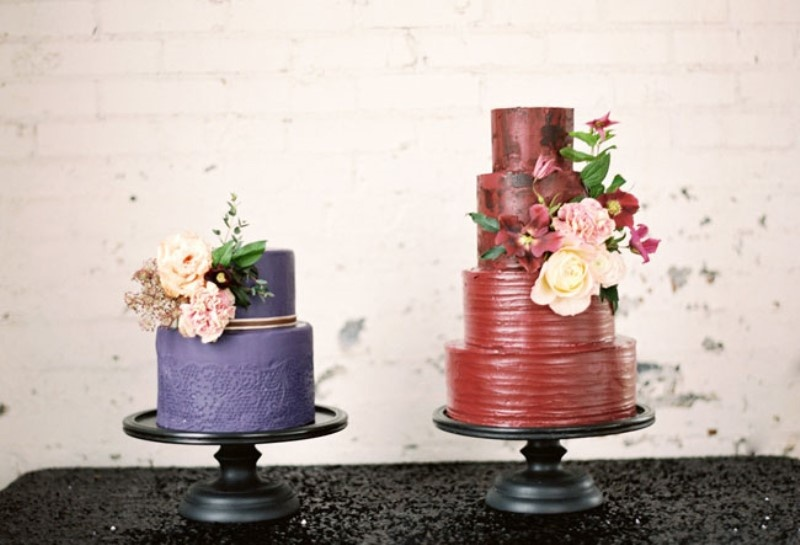 Picture Of moody marsala wedding inspiration at industrial loft  17