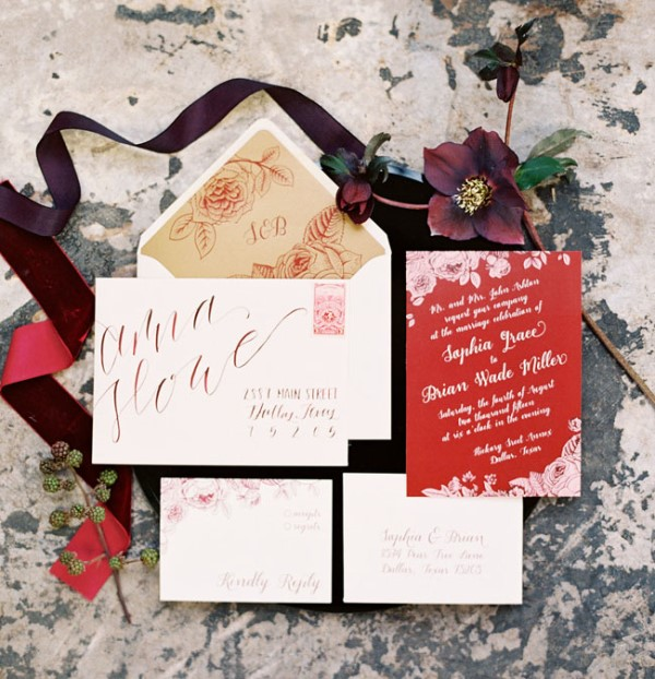 Picture Of moody marsala wedding inspiration at industrial loft  2