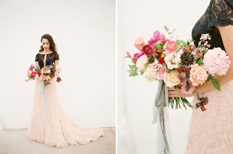 Picture Of moody marsala wedding inspiration at industrial loft  4