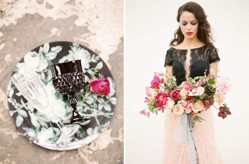 Picture Of moody marsala wedding inspiration at industrial loft  7