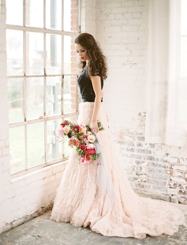 Picture Of moody marsala wedding inspiration at industrial loft  8