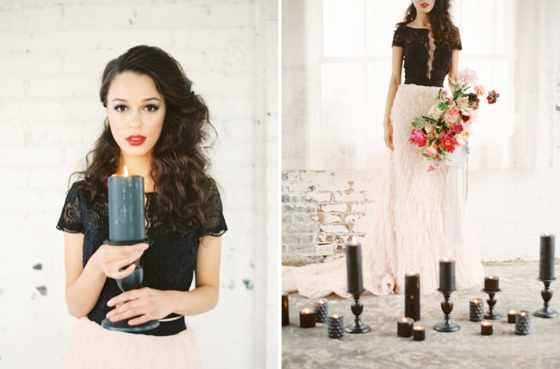 Picture Of moody marsala wedding inspiration at industrial loft  9