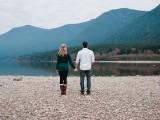 Mountainside Fall Lake Engagement Session