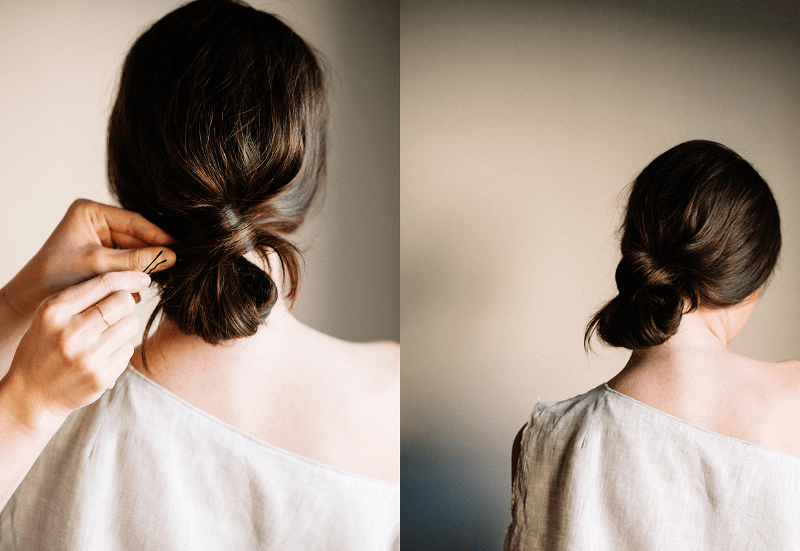 Picture Of natural and simple diy low knot hairstyle  2